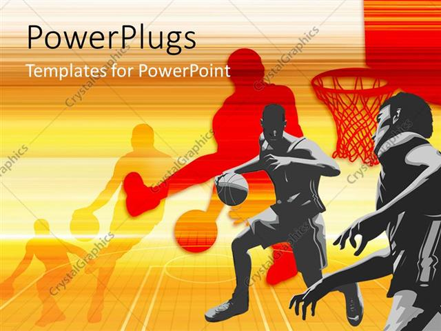 Powerpoint Template: Players Playing Basketball With Their Shadows