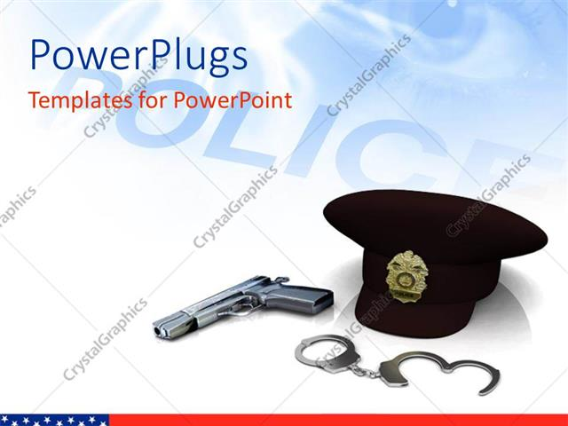 powerpoint template police hat gun and handcuffs with
