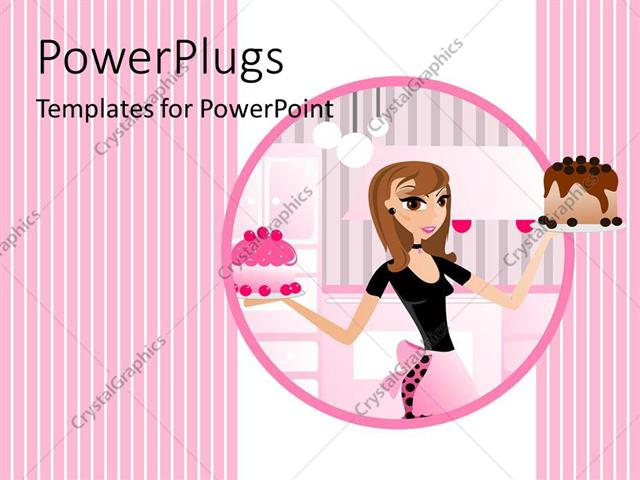 powerpoint template pretty animated lady baker holding a chocolate and strawberry cake 12716. Black Bedroom Furniture Sets. Home Design Ideas
