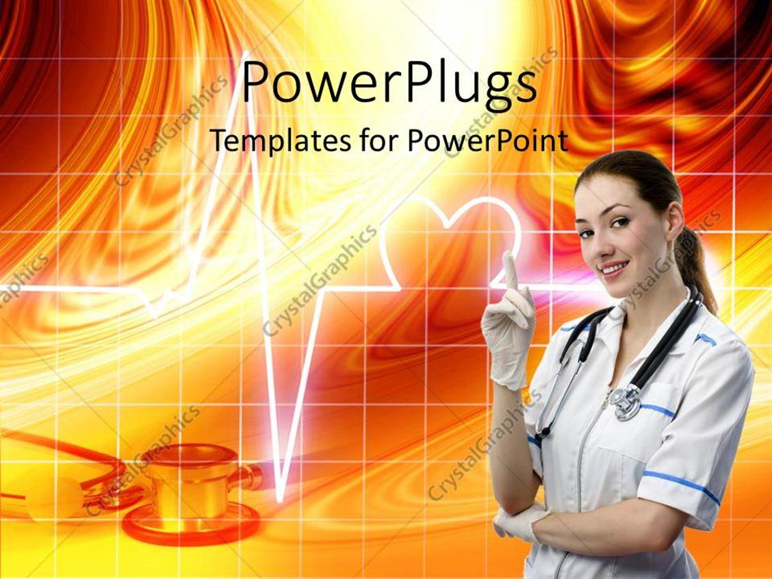 PowerPoint Template a pretty smiling nurse with a stethoscope and an orange colored background