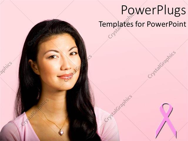 powerpoint template: pretty woman smiling on a pink background, Powerpoint templates
