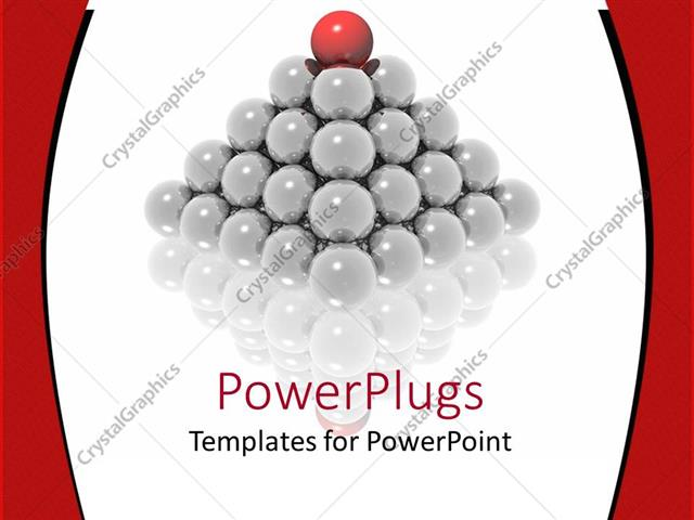 Powerpoint Template: Pyramid Made Of Glowing Gray Spheres And Red