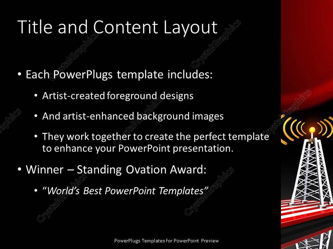 powerpoint template radio tower along with american flag in the