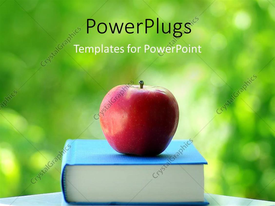 Powerpoint template red apple on blue colored book with green powerpoint template displaying red apple on blue colored book with green background toneelgroepblik Image collections