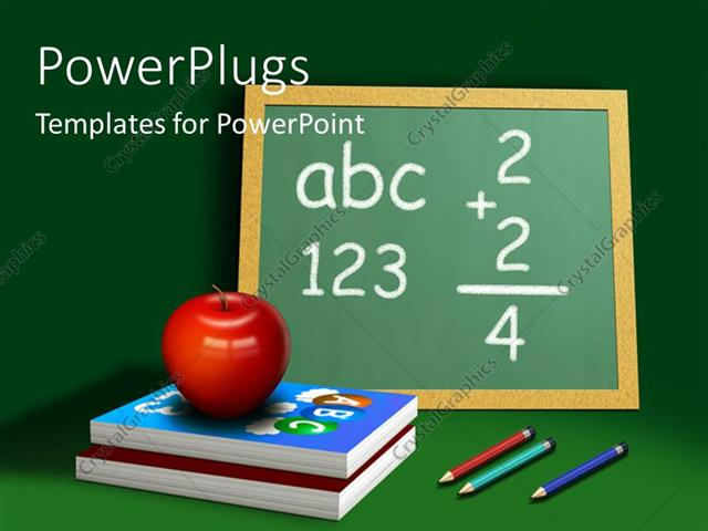 Powerpoint template a red apple on two books and a board with powerpoint template displaying a red apple on two books and a board with pencils toneelgroepblik Image collections