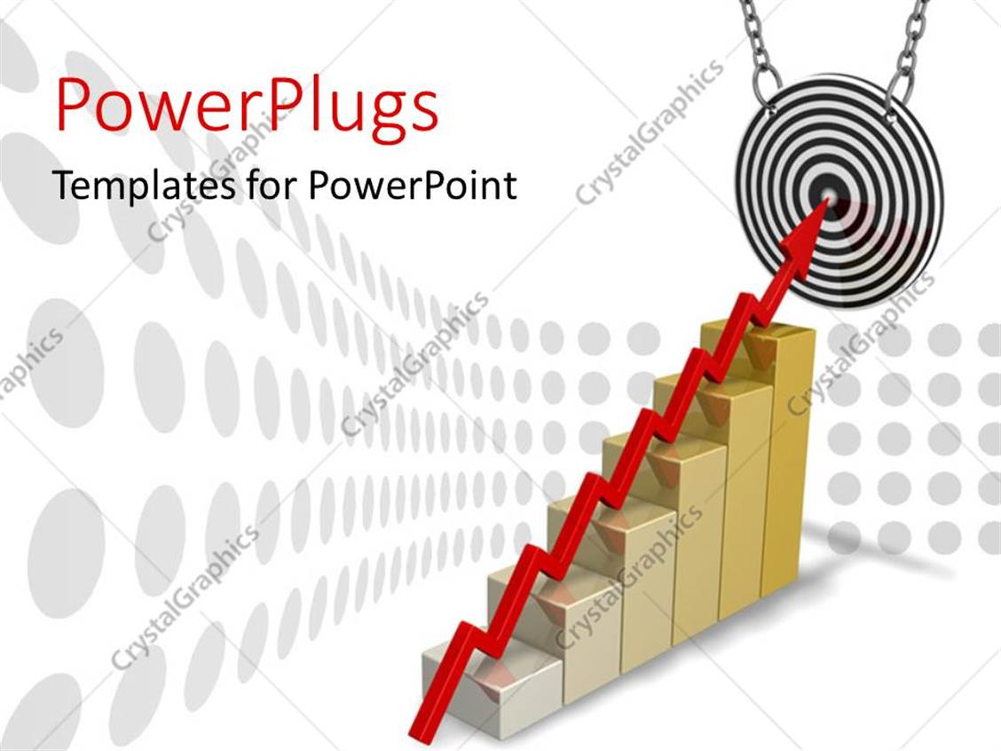 PowerPoint Template Displaying a Red Arrow on a Golden Bar Chart Hitting a Dart Board