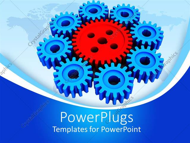 Powerpoint Template Displaying Red And Blue Mechanical Gears On World Map Industry Manufacturing