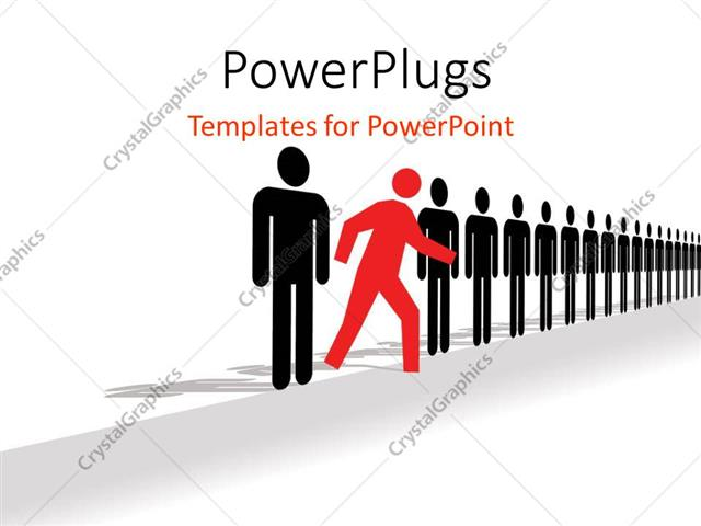 Walking In A Straight Line Clipart : Powerpoint template red colored man walks out of straight