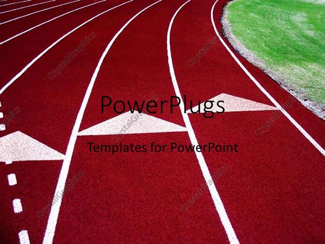 PowerPoint Template Displaying a Red Colored Race Track with White Demarcation Lines