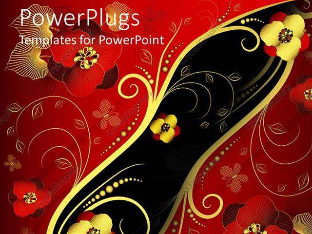 powerpoint template: red, gold, and black oriental style floral, Modern powerpoint