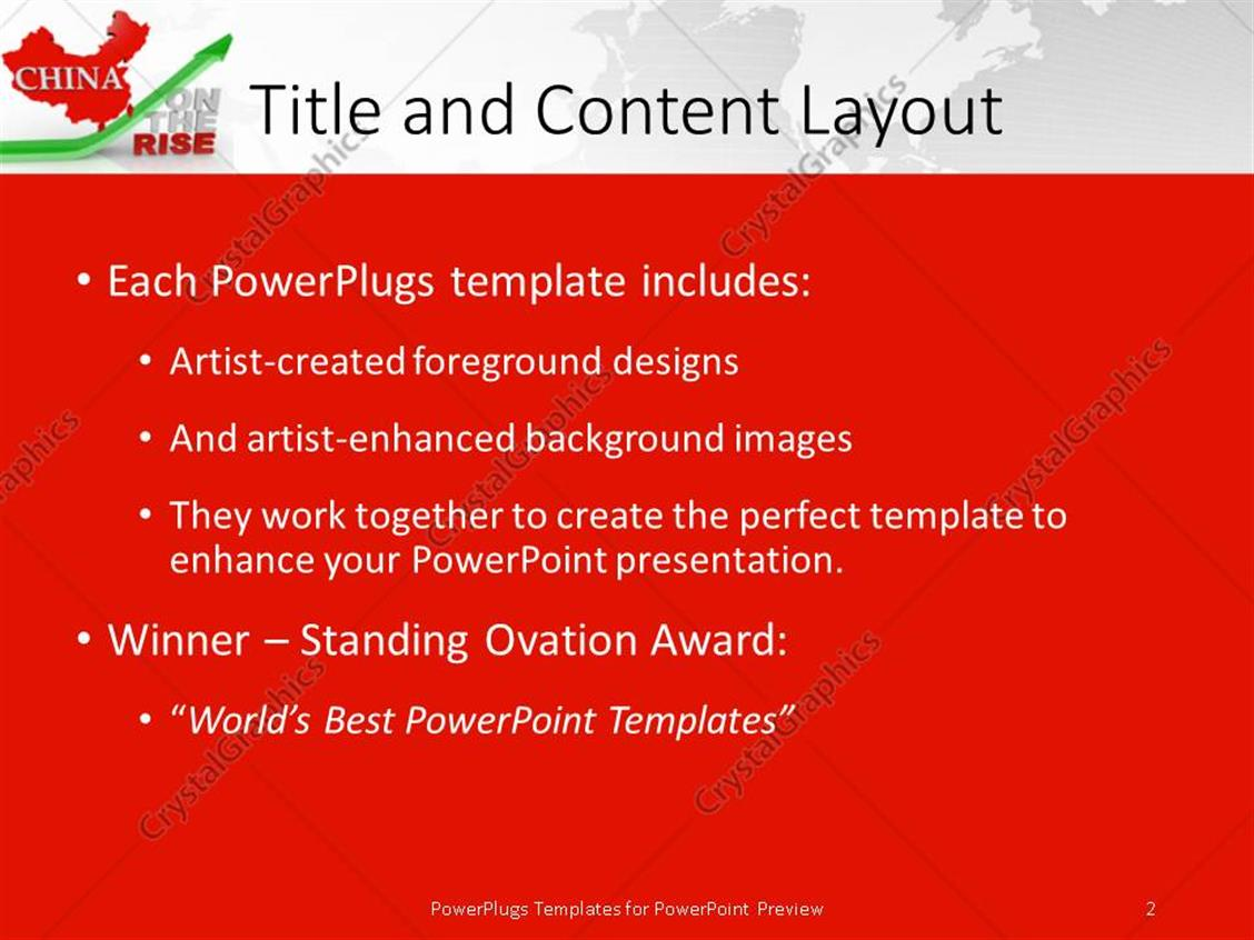 powerpoint template: red map of china above green arrow and words, Modern powerpoint