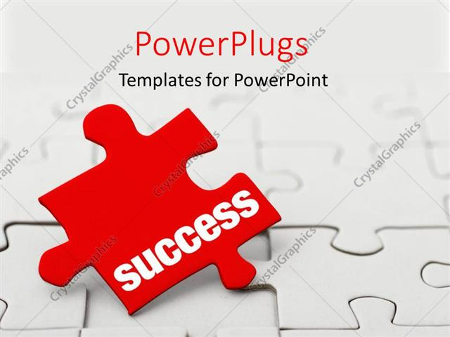 Powerpoint Template Red Puzzle Piece With Word Success Next To