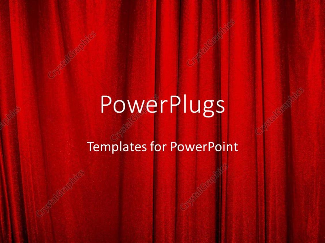 Closed theater curtains - Powerpoint Template Displaying Red Theater Curtains On Stage Closed For Entertainment And Actors