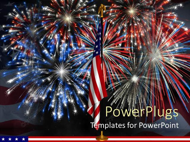 powerpoint template: red, white, and blue fireworks behind, Presentation templates