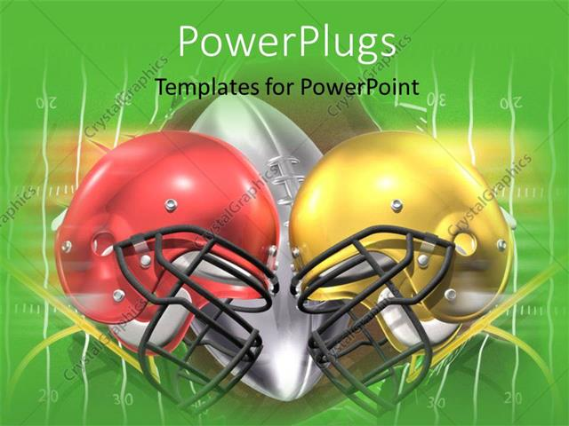 Powerpoint Template Red And Yellow American Football Helmets On