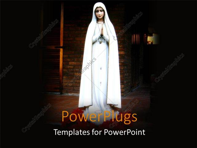 powerpoint template: religious statue of virgin mary with, Modern powerpoint