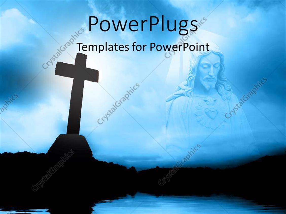 Powerpoint template religious theme with silhouette of cross near powerpoint template displaying religious theme with silhouette of cross near water and jesus christ on blue toneelgroepblik Image collections