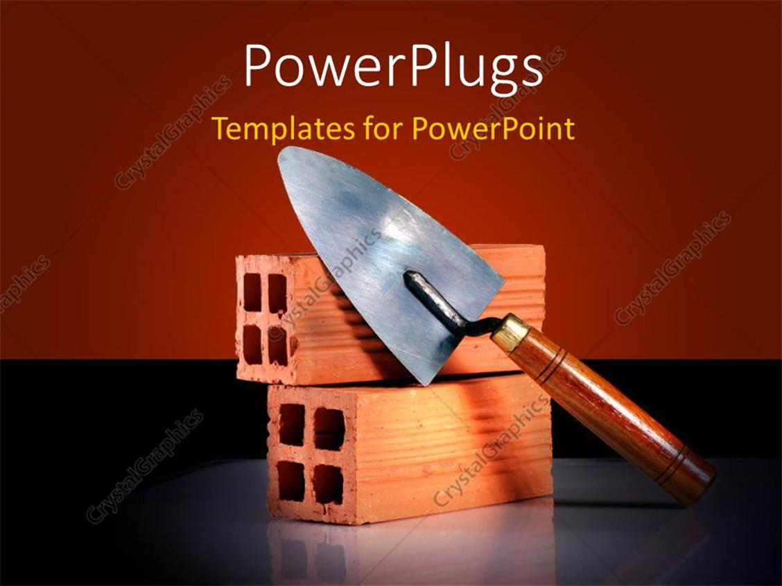 PowerPoint Template Displaying a Representation of Construction with Brown Background