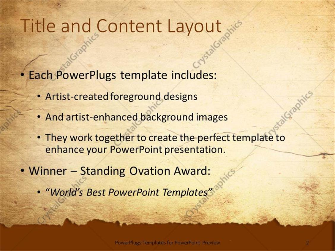 powerpoint template: a representation of old paper with place for, Powerpoint templates