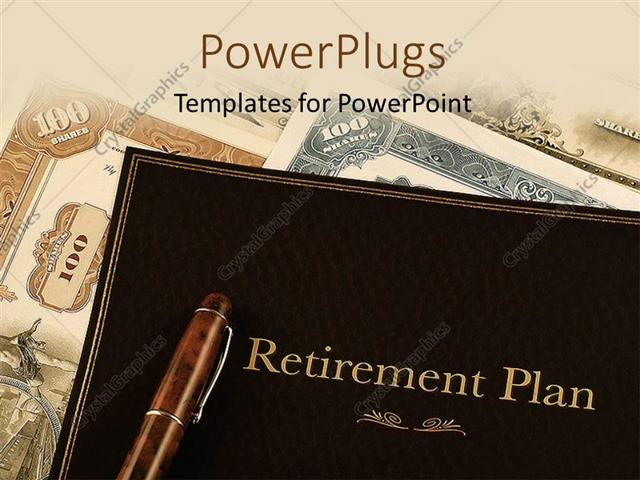 powerpoint template retirement plan portfolio on top of vintage, Powerpoint