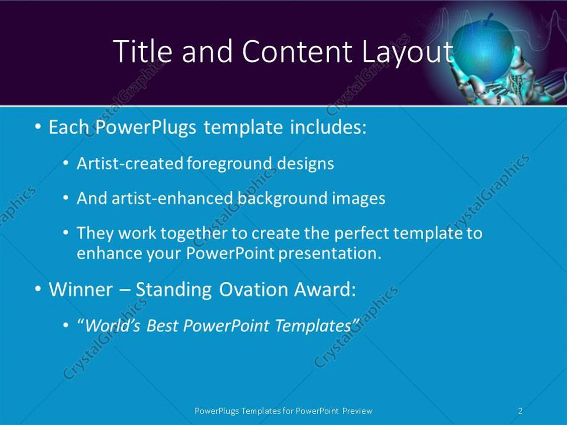 powerpoint template: robot hand holds neon apple symbolizing new, Presentation templates