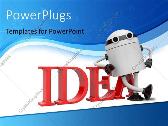 powerpoint template: robot leaning on the word idea with blue, Powerpoint templates