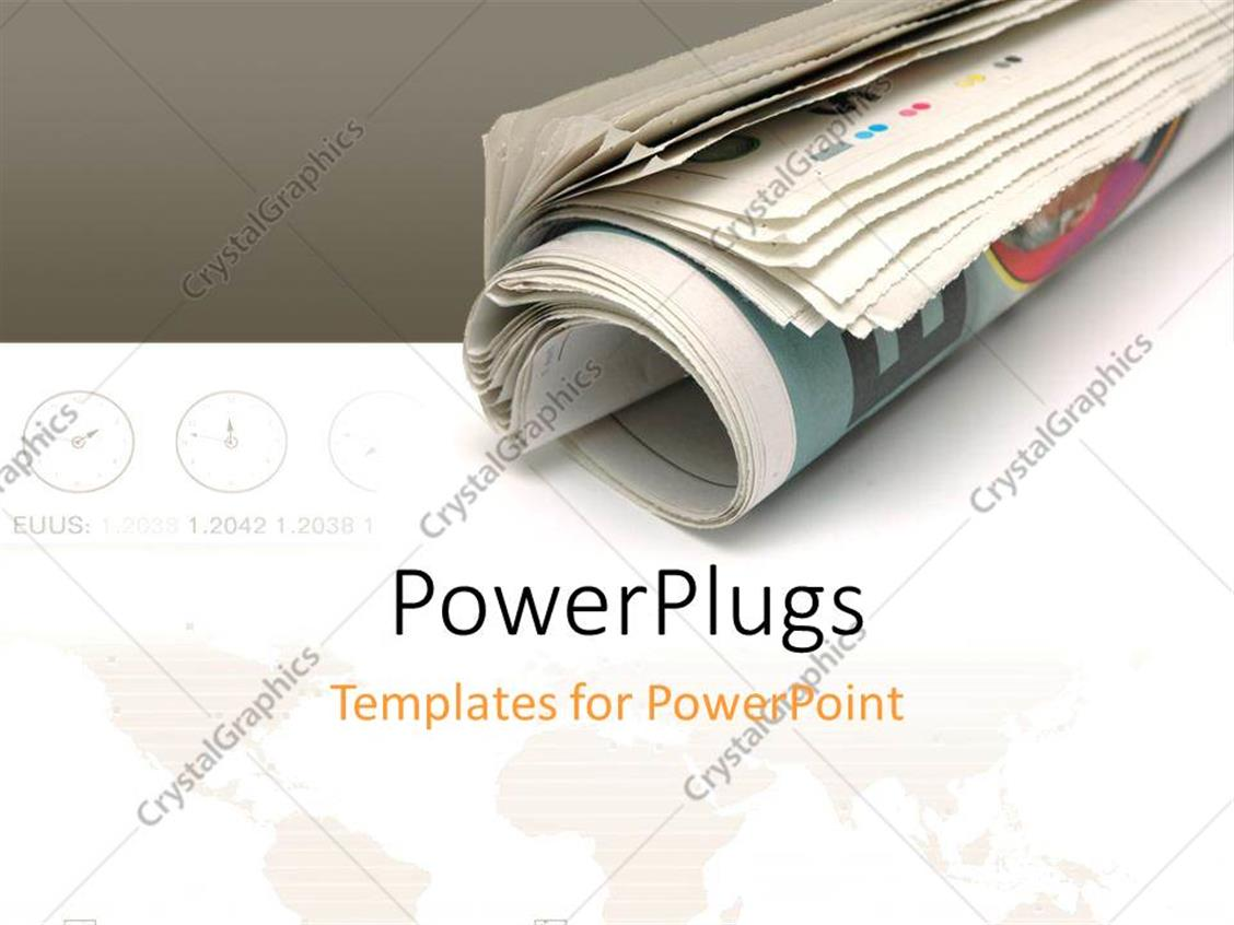 PowerPoint Template Displaying Roll of Newspaper Over White and Grey Background with World Map and Different Zone Clocks