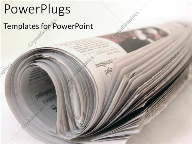 Powerpoint Template: Rolled Newspaper On Plain White Desk (22369)