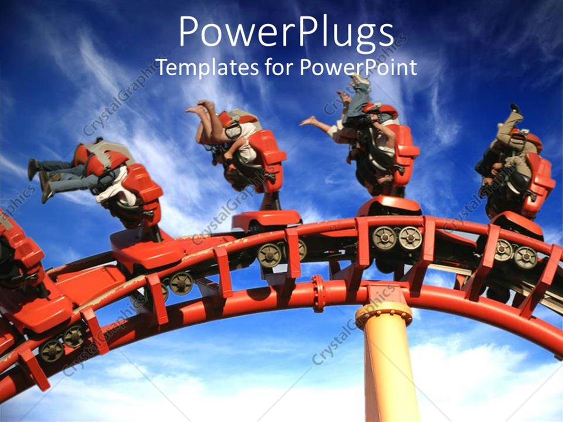 PowerPoint Template Displaying Roller Coaster with People Upside Down