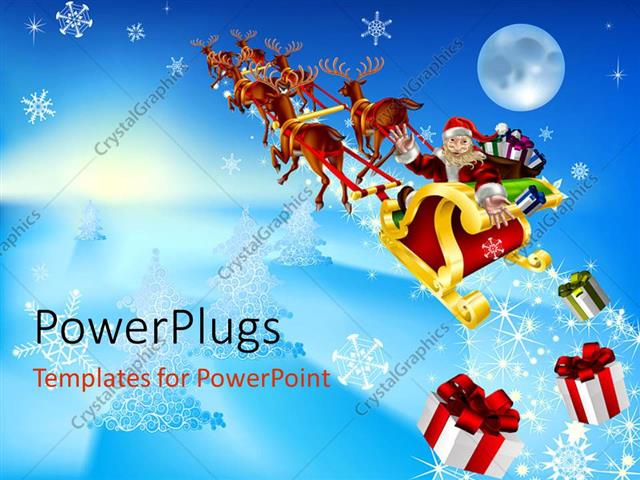 Powerpoint Template: Santa Claus Riding In Christmas Sleigh With