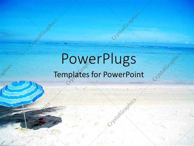powerpoint template: scenery of beautiful beach with cute blue, Modern powerpoint