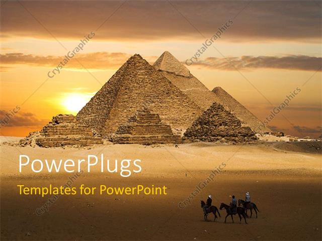 Powerpoint Template: Ancient Pyramids With Three Travelers On