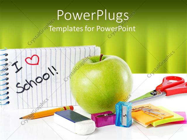 Powerpoint template school supplies with apple and message i love powerpoint template displaying school supplies with apple and message i love school on green background toneelgroepblik Choice Image