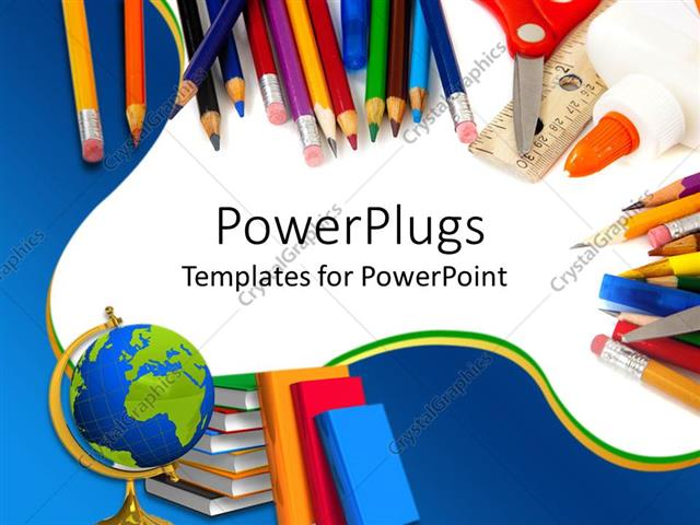 Powerpoint template school supplies with pencils globe books powerpoint template displaying school supplies with pencils globe books glue and scissors on blue and toneelgroepblik Gallery