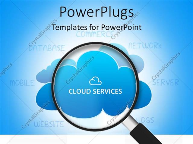 powerpoint template: search glass looking into cloud services (7448), Modern powerpoint
