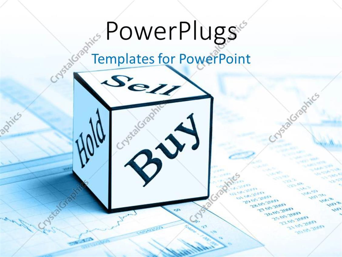 PowerPoint Template Displaying Sell, Buy and Hold Cube on Stock MarketChart and Report