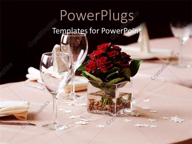 PowerPoint Template Displaying a Set Table of Plates and Cups with a Flower