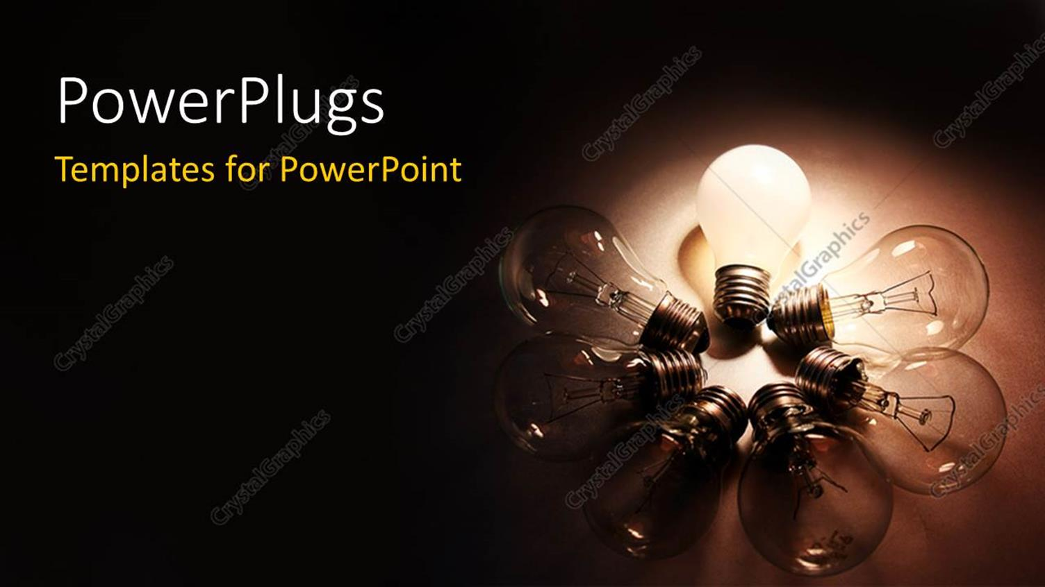 Powerpoint Template Seven Traditional Light Bulbs With Six Light Bulbs And One Bright Light