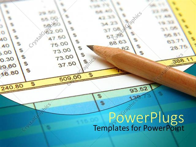 powerpoint template: sharpened pencil on spreadsheet, pencil on, Modern powerpoint