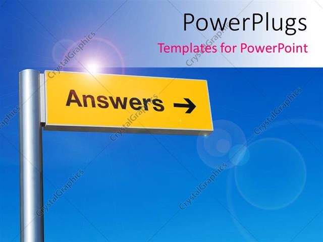 Powerpoint Template  The Sign Of Answers With Bluish