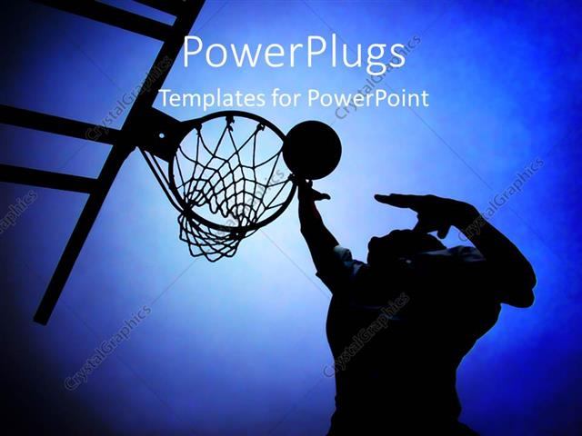 Powerpoint Template: Silhouette Of Basketball Player In Court