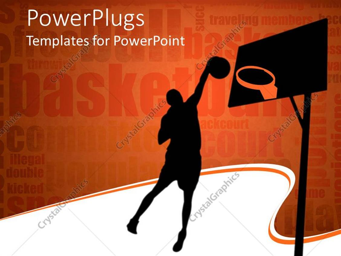 PowerPoint Template Displaying Silhouette Of Basketball Player Throwing  Ball In The Hoop Bastetball Related Words On
