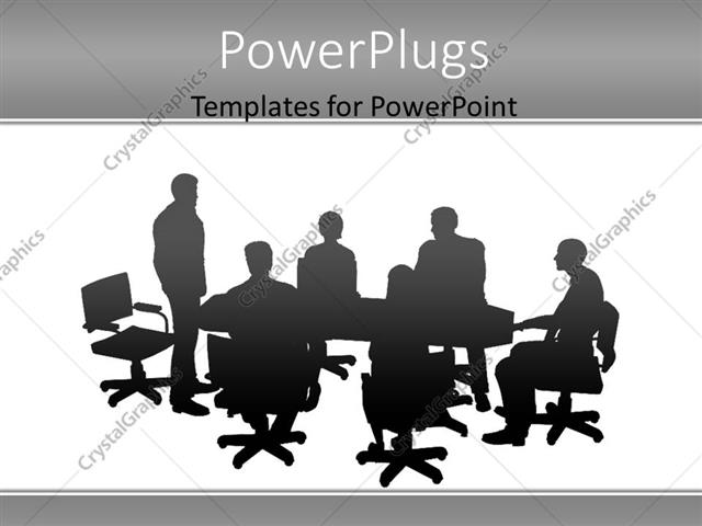 powerpoint template silhouette of conference meeting with man presenting to colleagues 20321. Black Bedroom Furniture Sets. Home Design Ideas
