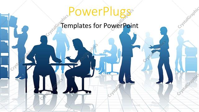 powerpoint template silhouettes of business people in a busy, Powerpoint