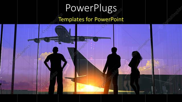 powerpoint template: silhouette of people looking through glass at, Modern powerpoint