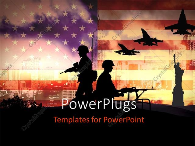 PowerPoint Template: Silhouettes of any Soldiers in new