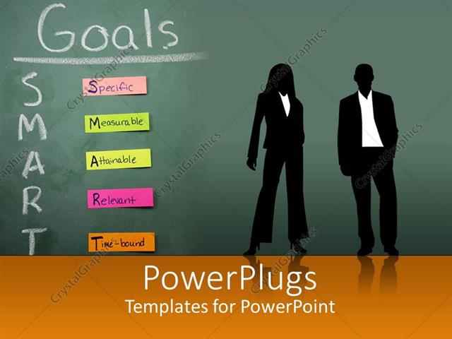 powerpoint template silhouettes of two business people in front, Powerpoint
