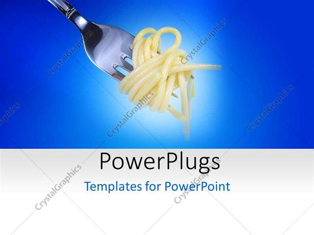 powerpoint template: a silver fork wrapped round an italian, Modern powerpoint