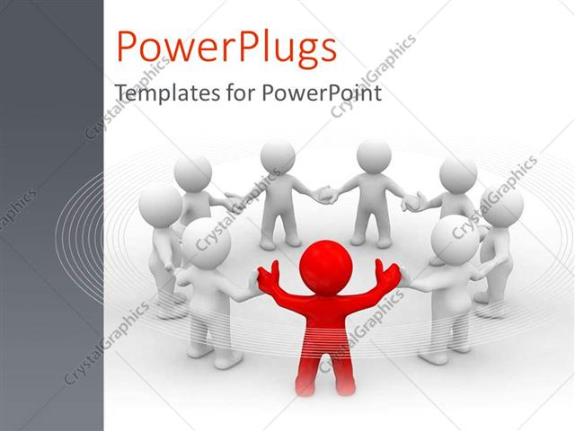 PowerPoint Template Displaying a Singled Out Person as a Metaphor for Leader of the Team with Ideas on a White Background