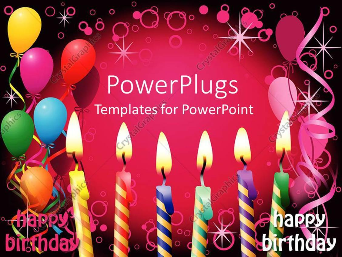 powerpoint template six lit birthday candles balloons party pink and black background 3542. Black Bedroom Furniture Sets. Home Design Ideas